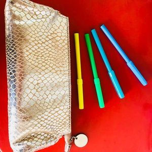 Save your purse! Neiman Marcus gold pencil pouch